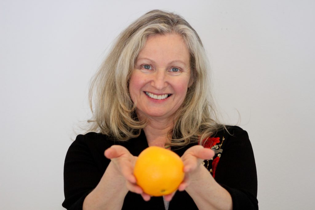 Annie B Kay with fruit