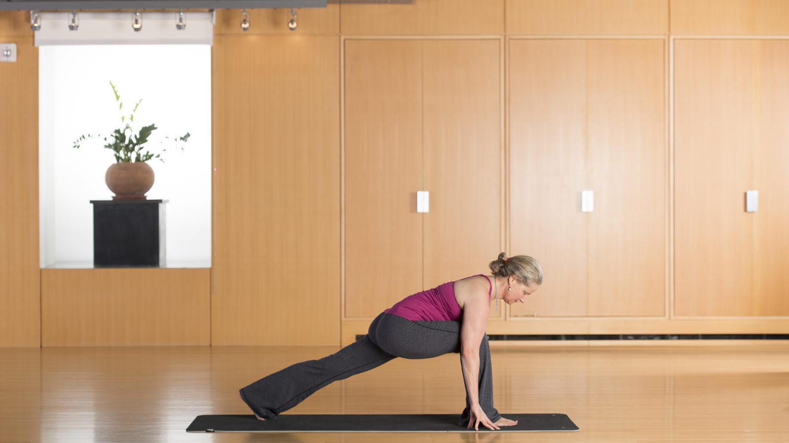 Annie B Kay doing yoga