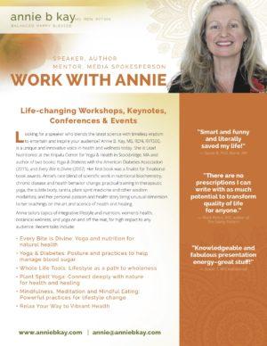 Annie B Kay - Speaker Brochure pg 1 of 2